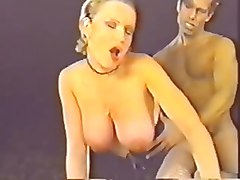 busty blonde in pantyhose and heels fucked in