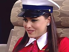 stewardess handjob uncensored