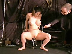 beautiful tied slave got large metal needles