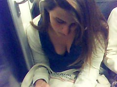 cute young girl deep downblouse in paris subway