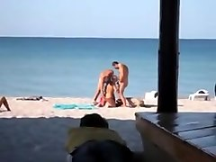 Public Beach Threesome
