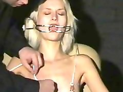 Amateur Blonde Needle Slave Tied