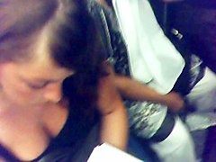 amazing girl downblouse in paris subway