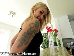1000facials gorgeous blonde with tattoos gets facialed