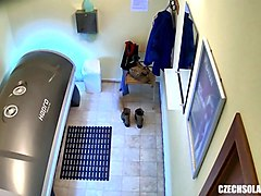 solarium voyeur with hidden cam in tanning room