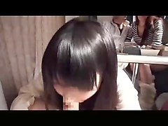 cute japanese girl milking her boyfriend for cum in front