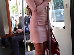 Leather Public Heels Dress Voyeur