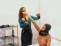 Lesbo Slave Gets Body Wrapped In Plastic